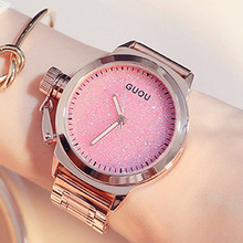 GUOU Fashion Rose Gold Watch Women's Watches Stainless Steel Ladies Watch Women Watches  Clock saat reloj mujer relogio feminino
