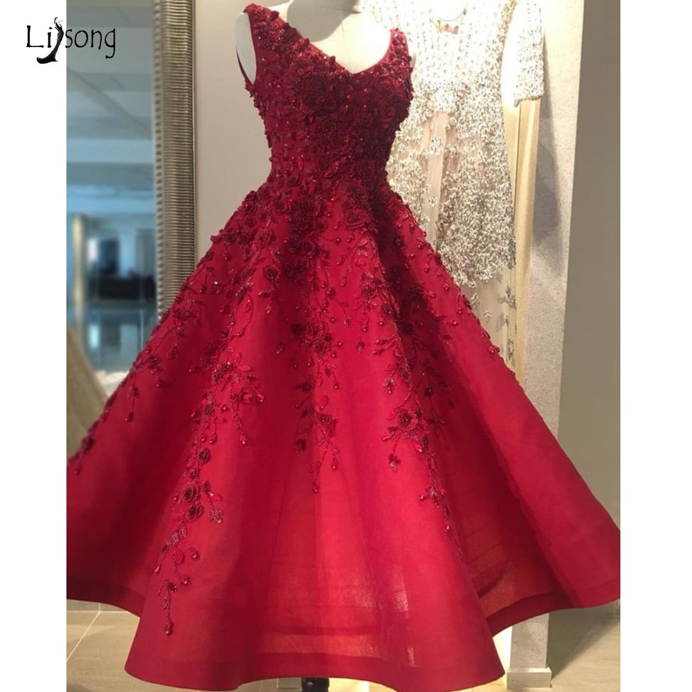 Pretty Embroidery Beaded Red Evening Dresses Elegant 3D Flower Lace Prom Gowns Ankle Length Formal Party