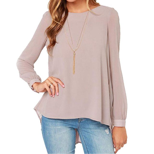 Autumn Women Casual Large Size Solid Color O-Neck Long Sleeve  Tunic Chiffon Shirt