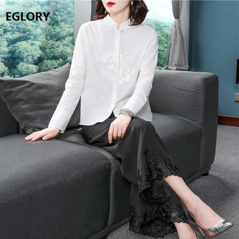 Haute qualité coton chemise 2019 printemps été blanc Blouse femmes élégant Floral broderie à manches longues bouton chemise de grande taille haut