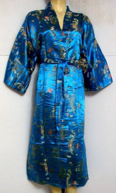 Hot Sale Light blue Chinese Men's Polyester Satin Robe Dragon phenix Kimono Bath Gown SIZE S M L XL XXL 3XL LDF-2