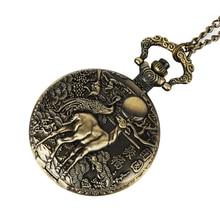 Vintage Bronze Deer Mehcanical Pocket Watch Men Steampunk Hollow Unisex Skeleton Fob Hand Watch Chain Neckalce Black Watch Gift все цены