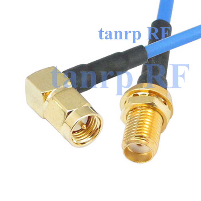 15CM coaxial Sexi Flexible blue jacket jumper extension cable RG405 6in SMA male right angle to SMA female RF 3G 4G router WIFI