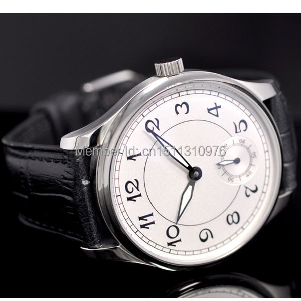 44mm parnis white dial ST 6498 Mechanical manual wind mens watch P28 цена и фото