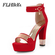 Summer Women Buckle Strap Square High Heels Platform Sandals 2019 New Elegant Red Black Cover Rough Heel Shoes Metal Ladies Pump asumer black apricot rose red fashion summer ladies shoes buckle thick platform prom shoes women high heels sandals