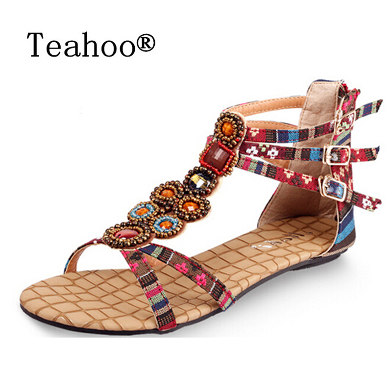 SUMMER STYLE Free shipping 2017 Flat Sandals Ankle T-strap Fashion Trend Sandals Bohemia Nation Flat Beaded Sandals Shoes Women new fashion silver tone chain trim flat sandals flat heel black white metal leather ankle sandals for women free shipping