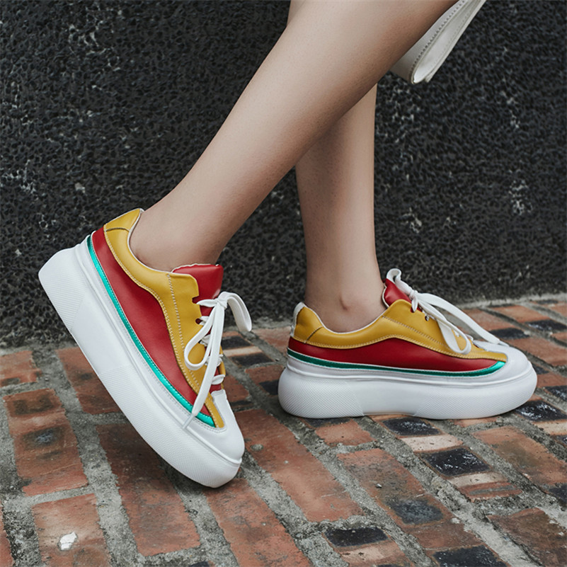Mocassini Round Basic Novelty le Shoes Leather Fedonas Platforms Fashion per Woman Spring Flat Yellow Casual donne 2019 Toe Casual 4IwnC5q