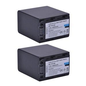 Image 2 - 2 pièces 4500mAh NP FH100 NP FH100 Batterie + Chargeur Double USB pour Sony DCR SX40 SX40R SX41 HDR CX105 FH90 FH70 FH60 FH40 FH30 FP50