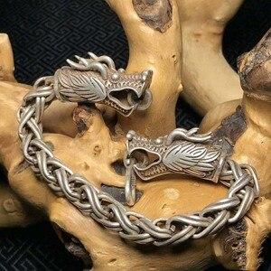 Китай старый Тибет серебряный резной браслет с головой дракона