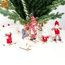 1PC Cute Angel Doll Girl Ski Pendant Christmas Tree Decorations For Home Wooden Ornaments Xmas Kids Gift Supplies