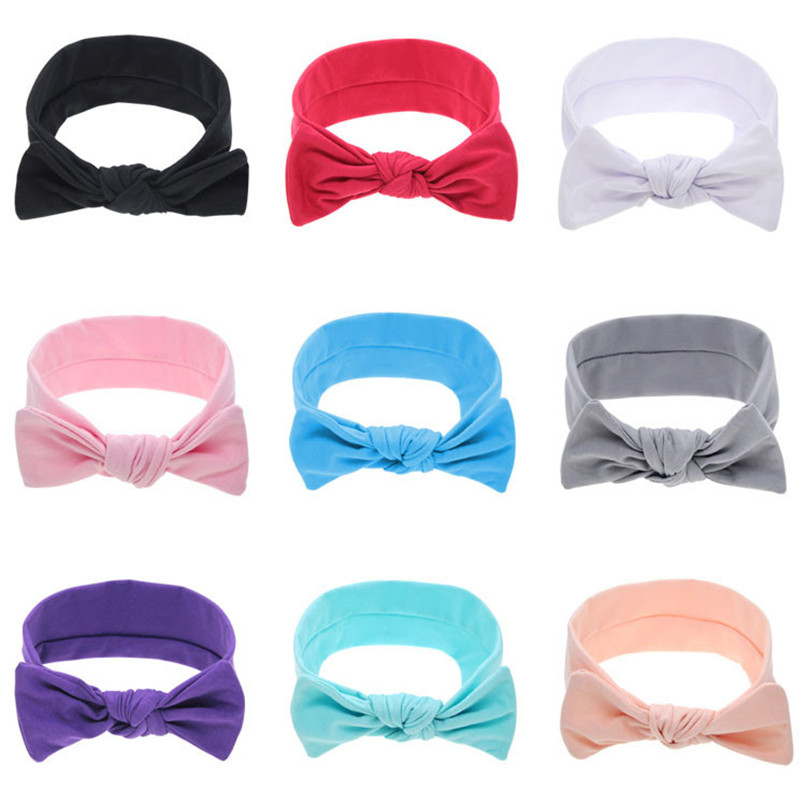 Toddler Infant Girls Big Bowknot Headband For Spring Elastic Hair Bands Kids Solid Headwear Baby Girl Hair Accessories A84L06