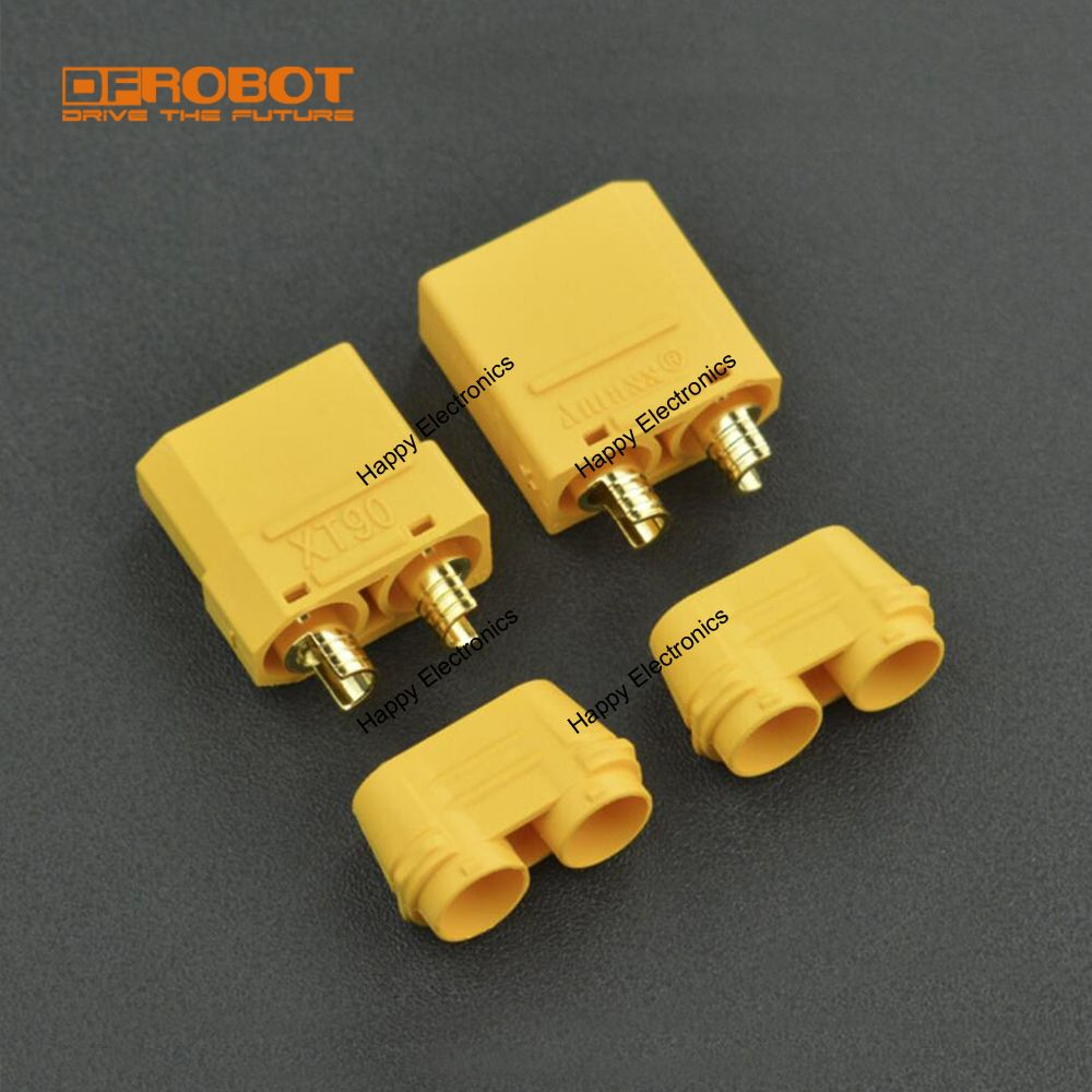 DFRobot 2PcsLot  Non-flammable low resistance banana plug Gold Plated DC 500V 40A XT90 Male & Female Bullet Connector