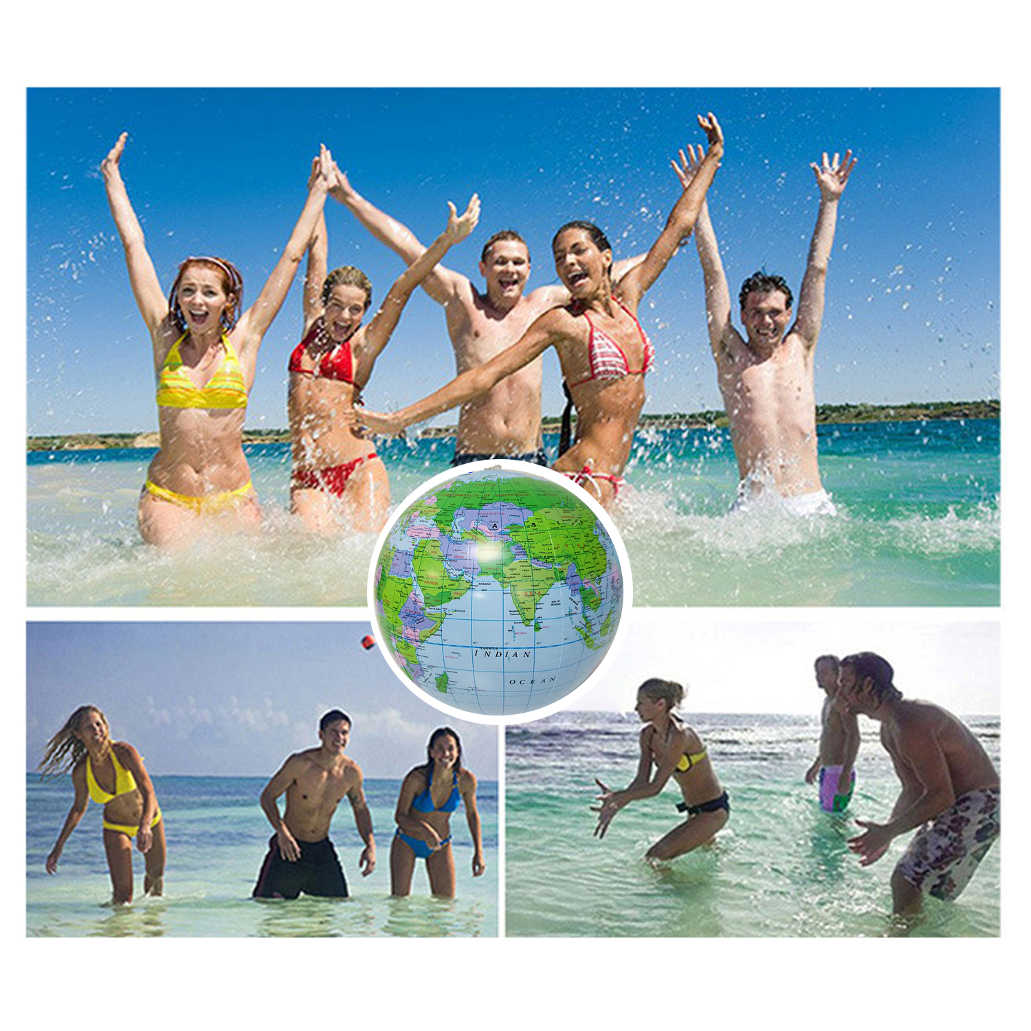 2pcs 12 Inch World Globe Style Inflatable Beach Ball Swimming Pool Party Toys For Kids Children Water Games