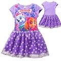 Patrulhas de verão das Crianças Meninas Roupas Da Moda Cão Dos Desenhos Animados de Algodão E Gaze Vestido de Princesa Vestido Crianças Favorito 3-8Years velho