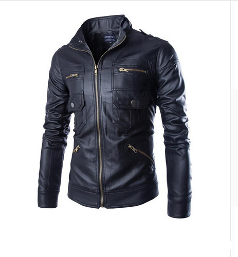 Loldeal 2018 autumn and winter men standing collar motorcycle leather jacket washed leather high quality