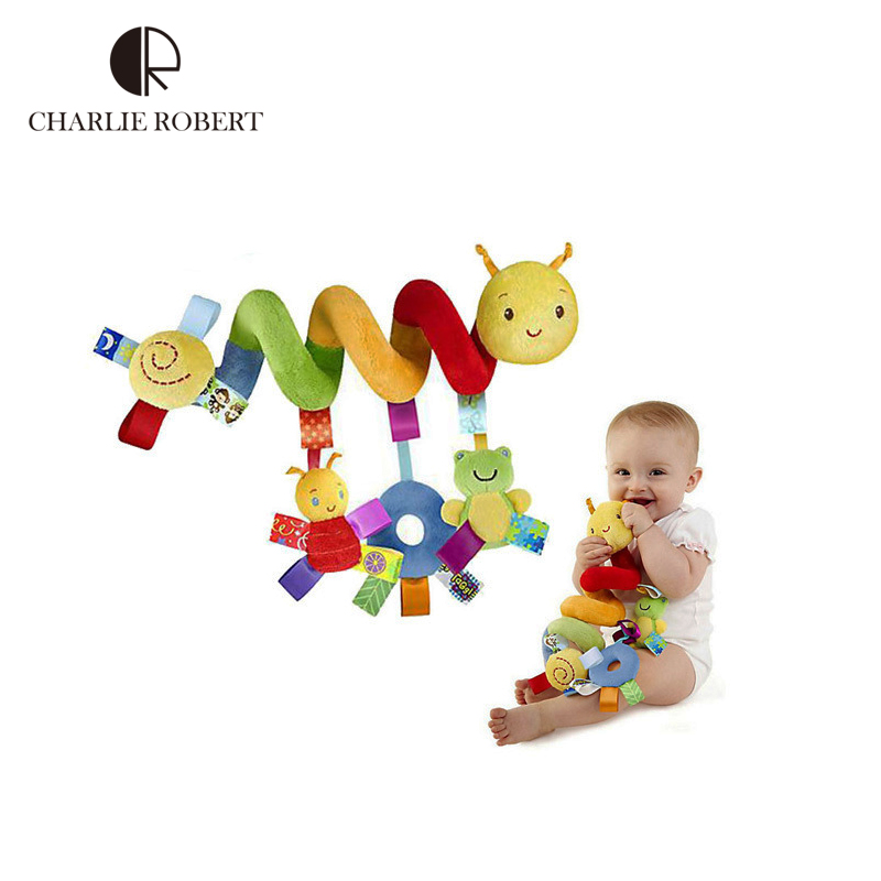 Hot plush baby toy educational newborn mobile baby rattles toys for kids colorful caterpillar baby stroller toys hanging HK596