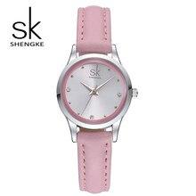 SK Model Vogue Women Watches Elegant Rhinestone Feminine Quartz Watch Ladies Skinny Leather-based Strap Waterproof Montre Femme S0008