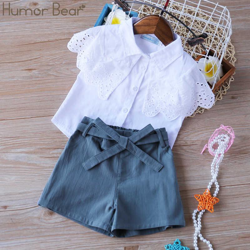 Humor Bear/Новая летняя одежда для детей модная одежда для девочек кружевные Белые блузы + красный 7 Minutes Of Pants/Костюмы комплект Детские комплекты одежды