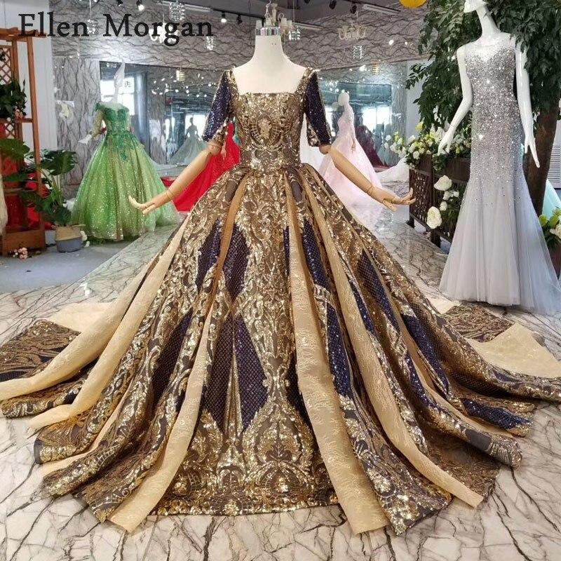 Elegant Ball Gowns Evening Dresses 2019 Robe Dubai Caftan Saudi Arabian Half Sleeves Glitter Elegant Formal Prom Party Gowns
