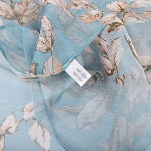 Image 5 - BYSIFA écharpe 100% en mousseline de soie pour femmes, écharpe de cou de marque, Design, feuilles, gris, kaki, châle de plage, automne et hiver