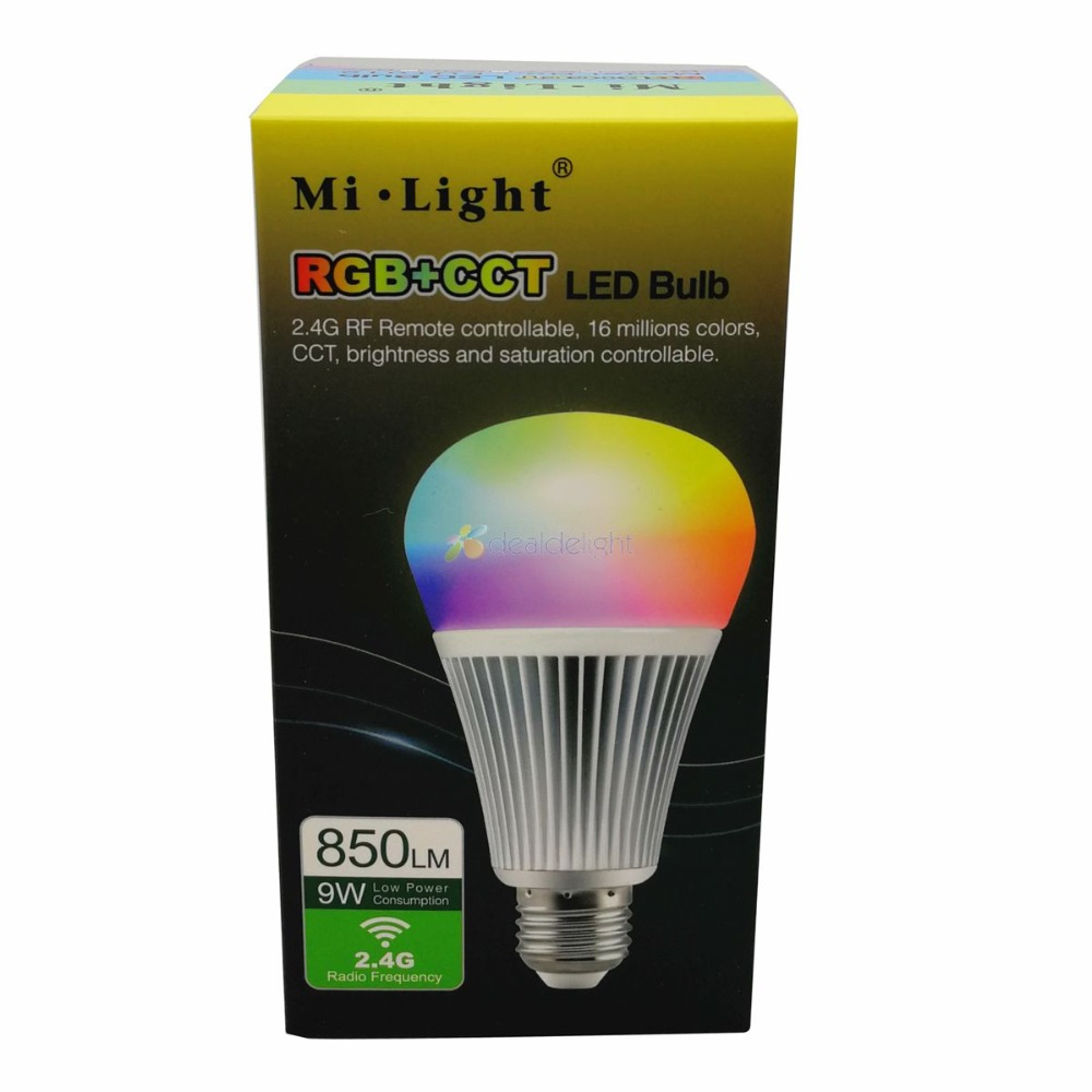 10pcs Mi.Light E27 9W RGB CCT LED Bulb <font><b>FUT012</b></font> Smart WiFi 2.4G Wireless RGB+Color Temperature Dimmable 2 in 1 AC85-265V wholesale image