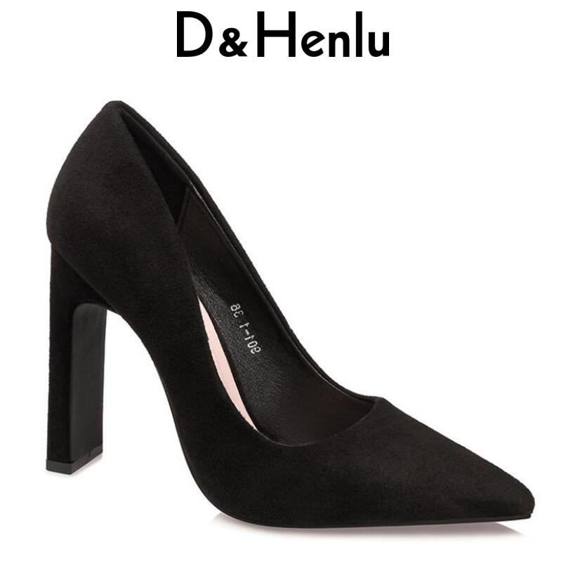 {D&Henlu} Thick Heels Suede Women Shoes Woman High Heel Square Heel For Women Pointed Toe Pumps 2018 Ladies Party Shoes Pumps luxury brand crystal patent leather sandals women high heels thick heel women shoes with heels wedding shoes ladies silver pumps