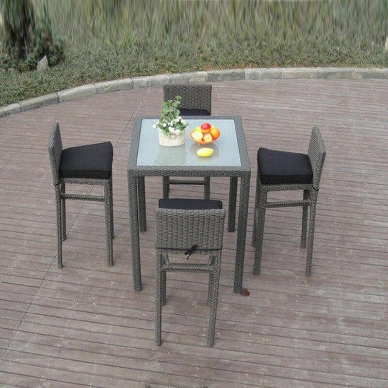 5pcs metal frame bistro pool bar set resin wicker patio furniture