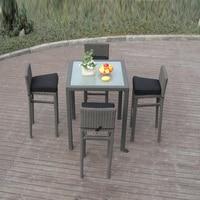 5pcs Metal Frame Bistro / Pool Bar Set , Resin Wicker Patio Furniture
