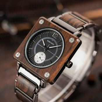 Reloj cuadrado de madera de lujo Unisex