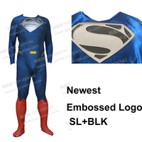 Movie Coser Newest Relief Logo Silver With Black Logo Superman Spandex Suit Superman Costume #2