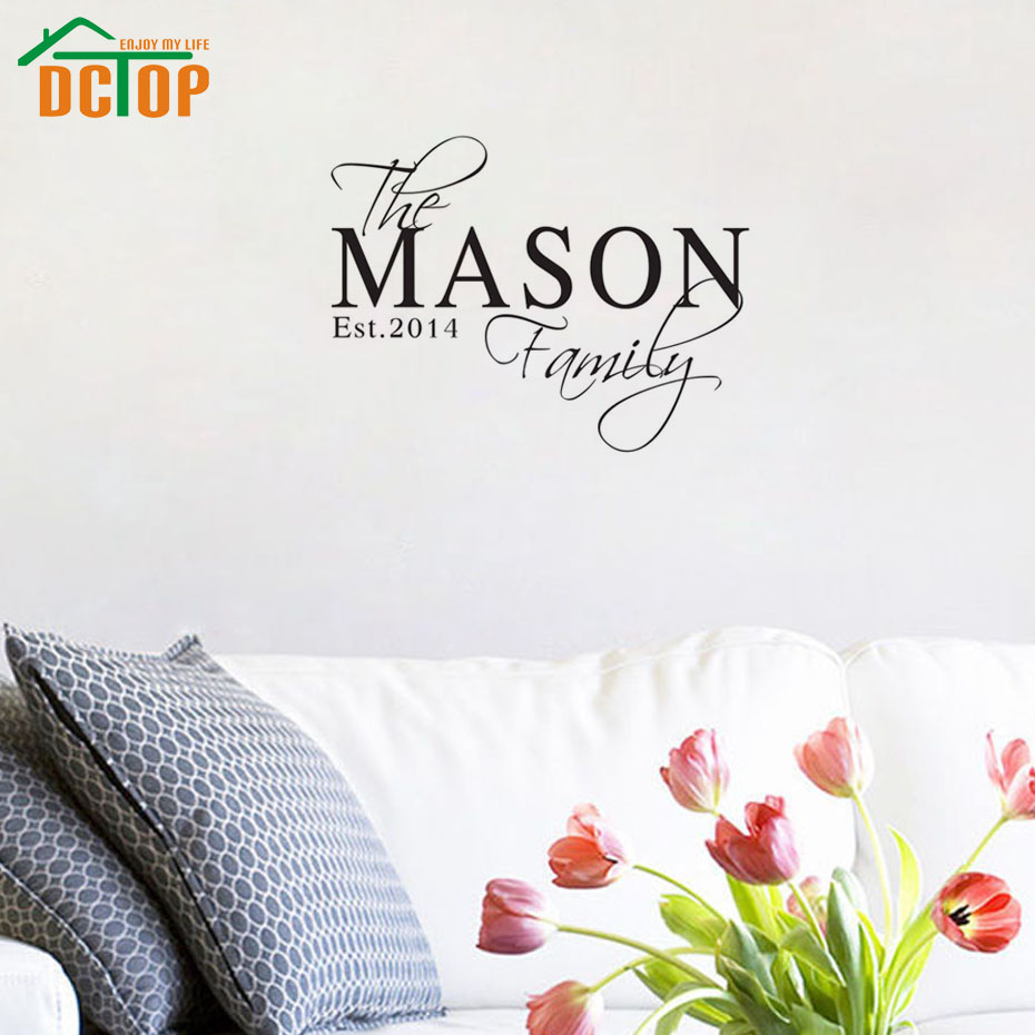 Living room furniture names - Dctop Personalized Name Family Wall Sticker Living Room Bedroom Decor Custom Family Name Date Vinyl Decals Home Decoration