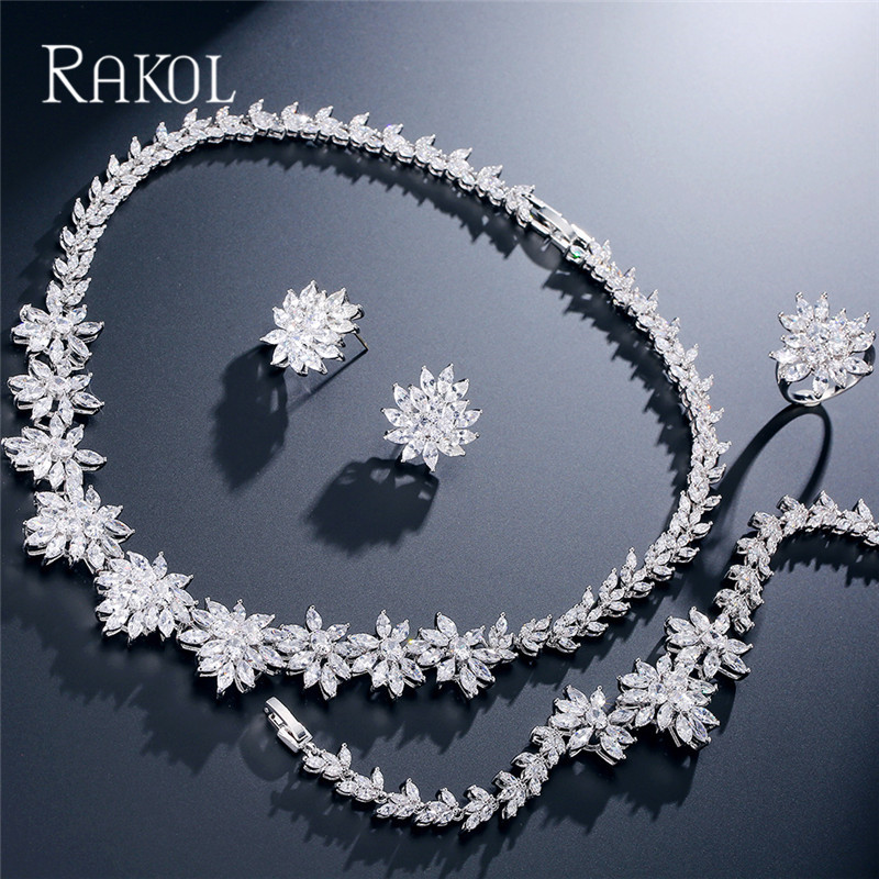 RAKOL Lovely Cubic Zircon Flowers Necklace Earrings Gorgeous Dinner Jewelry Set Wedding Bridal Dress Accessories