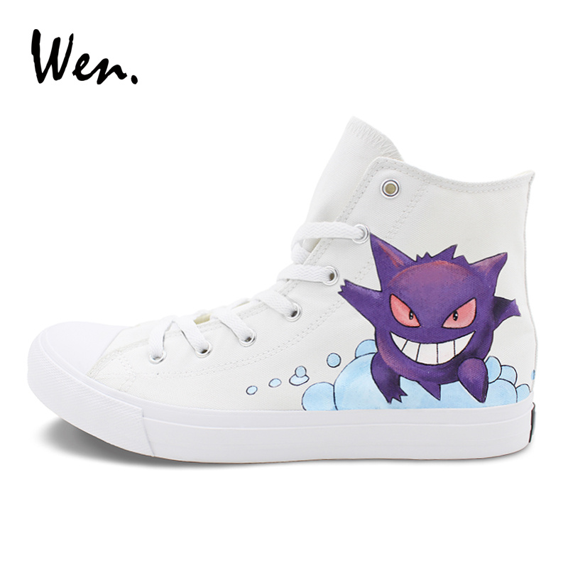 Wen Design Canvas Sports Sneakers Pokemon Gengar Hand Painted Anime Shoes Pocket Monster Custom High Top Skateboarding Shoes wen giraffe canvas shoes classic white hand painted animal sneakers sports high top skateboarding shoes for man woman