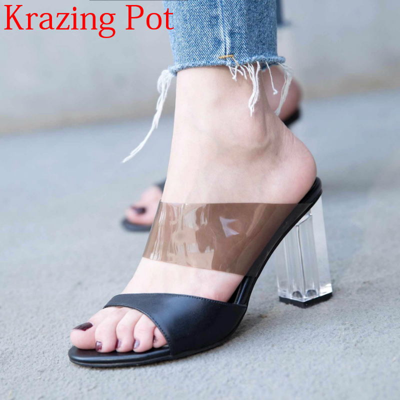 2018 new arrival genuine leather slip on original design crystal 8cm square heel women sandals preppy style peep toe mules L99 preppy style women s high heel boots with suede and slip on design