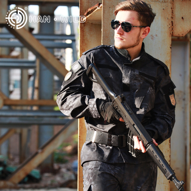 Bright Black Pyhon, Camouflage Military Tactical Clothing ,airsoft Combat Uniform Shirt + Pants Carefully Selected Materials