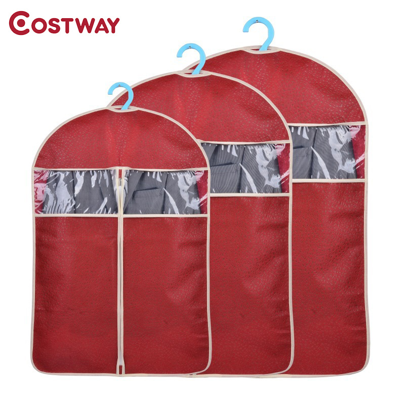 COSTWAY Non-woven Garment Suit Coat Dust Cover Protector Transparent Wardrobe Storage Bag U0756