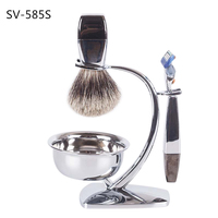 SV685S high quality A class badger silver tip hair alloy handle shaving beard makeup cosometic brush+razor+metal stand+bowl set
