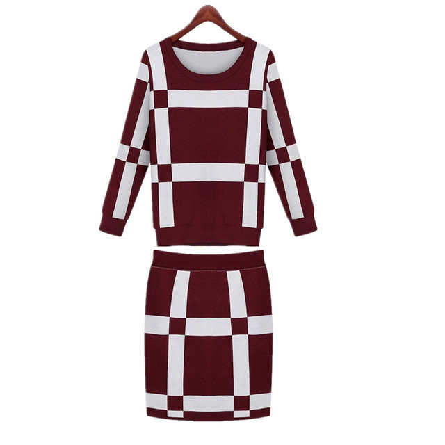 Autumn New Two Piece Set Winter Women Long Sleeved Knitted Plaid Tops and Skirt Set 2pcs Sweater Female Tracksuit Ladies Clothes