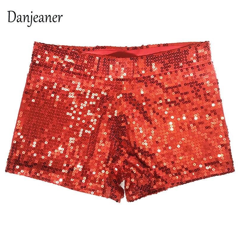 Danjeaner Women Elastic High Waist Sequins Booty Shorts Silver Black Gold Red Ds Hip Hop Jazz Sparke Short 2019 New Arrivals