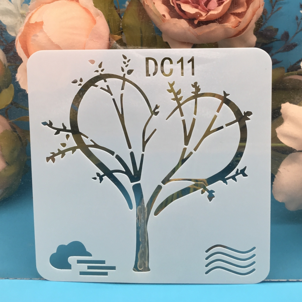 13cm Tree Love Heart DIY Craft Layering Stencils Wall Paint Scrapbook Stamp Embossing Album Decorative Card Template