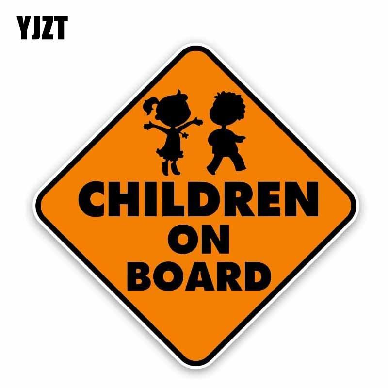YJZT 14.7CM*14.7CM CHILDREN ON BOARD Car Sticker Boys And Girls Warning  Decal PVC 12-40308