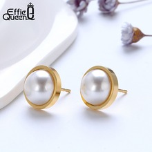 Effie Queen Stainless Steel Round Stud Earrings For Women Top Quality Simulated Pearl 6mm 8mm 10mm 12mm 14mm New Jewelry DGTE127