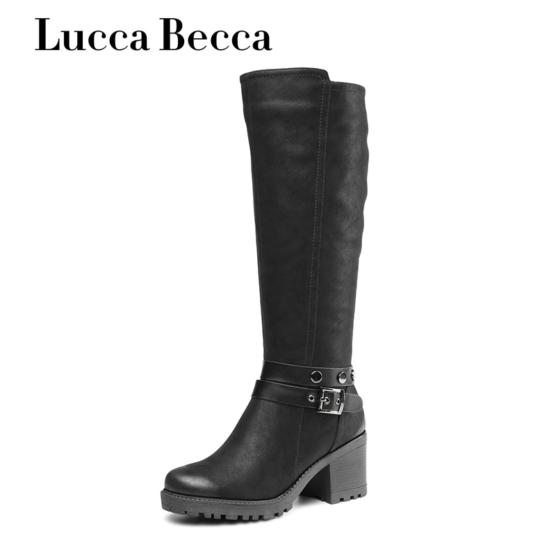 Lucca Becca New Winter Knee High Boots Women Shoes High Heels Snow Boots Black Pu Leather Winter Long Boots Zapatos De Mujer lucca over knee high boots shoes women high heels stretch boots zapatos mujer slim sexy fashion jackboot female shoes new spring