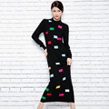 Rectangular decorative casual women dress long fashion autumn winter women wool knitted sweater dress warm women design dress