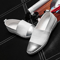 Loafers genuine leather shoes mixed colors slip-on chaussure femme rubber round toe shoes swing shoes woman white/black shoes