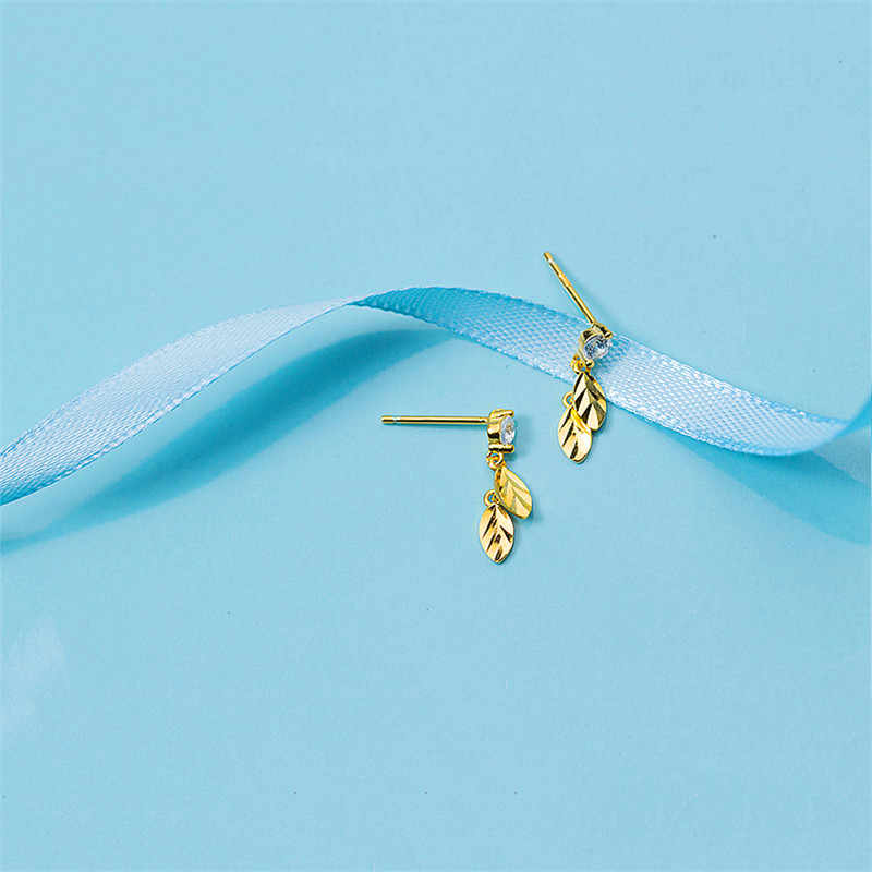 Inzatt Manis Segar Daun Zircon Drop Anting-Anting 2018 Fashion 925 Sterling Perak Warna Emas Pendientes Mujer Moda Hadiah Romantis