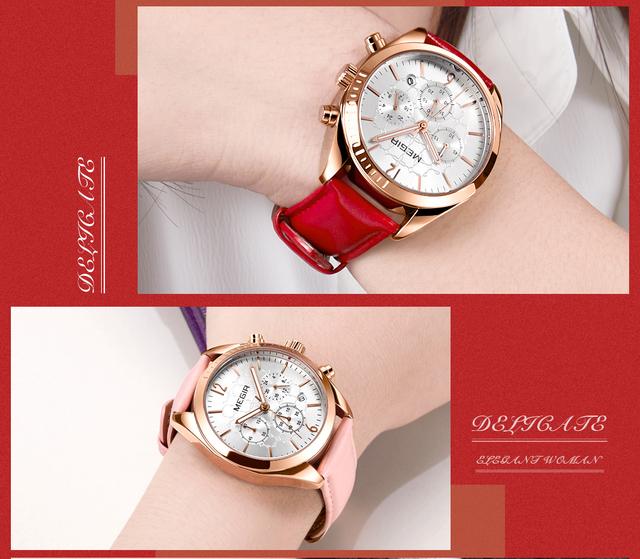 MEGIR Fashion Quartz Women Watches Top Brand Luxury 3 Dials 6 Hands Chronograph Leather Strap Elegant Ladies Wristwatch 2019