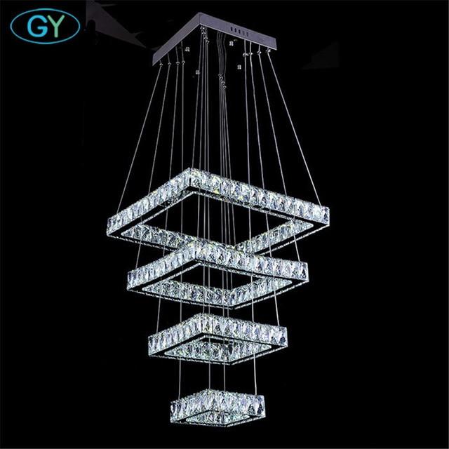 Modern Square 138W Crystal LED  Surface Mount pendant Lights lustre L20+L40+L60+L80cm Large lustres pendant lighting