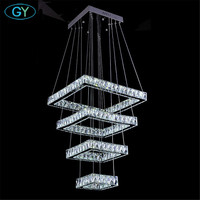 Modern Square 138W Crystal LED Ceiling Surface Mount Pendant Lights Chandelier L20 L40 L60 L80cm Contemporary