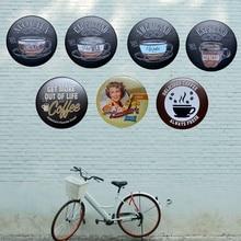 Coffee Round Poster Metal Plate Irregular Signs Iron Painting Wall Hotel Pub Coffee Home Art Decor 30CM U-9